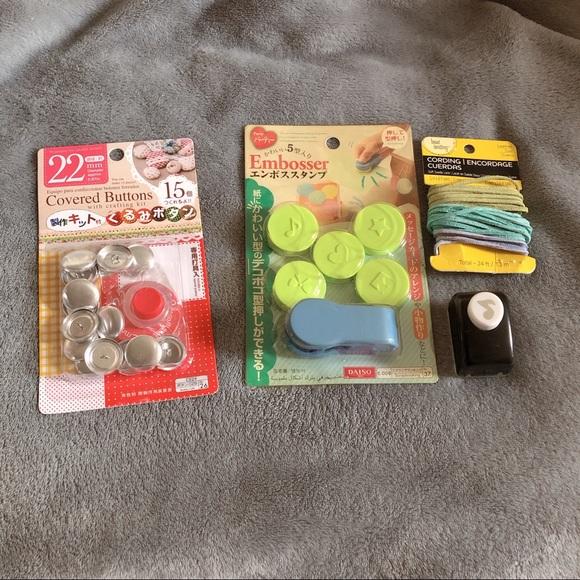 Assorted Crafting Supplies Buttons Embosser